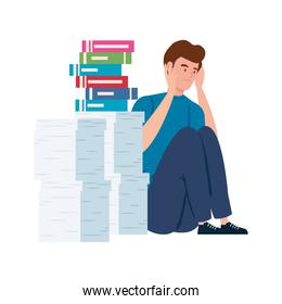 man sitting with stress attack and stack of documents