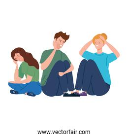young people sitting with stress attack