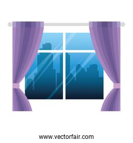 windows glass house with curtains isolated icon