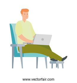 man sitting in chair with laptop isolated icon