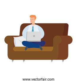 businessman sitting in couch with laptop isolated icon