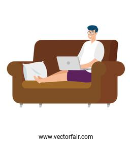man sitting in couch with laptop isolated icon