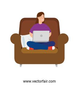 woman sitting in couch with laptop isolated icon