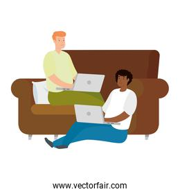 men sitting with laptop isolated icon