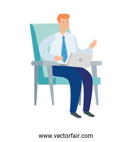 businessman sitting in chair with laptop isolated icon