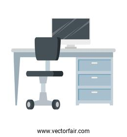 scene of workplace with desk and chair