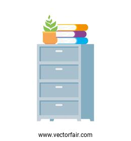 drawer furniture with books and pot plants isolated icon