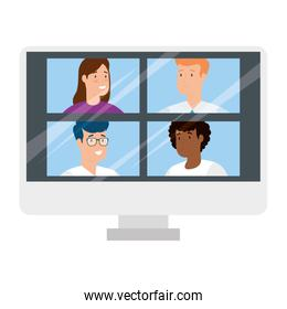 people in video conference in computer