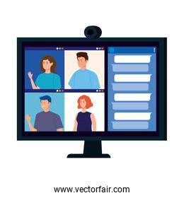 young people in video conference in computer