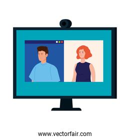 couple in video conference in computer