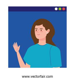 young woman in video conference in web page
