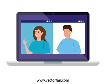 young couple in video conference in laptop