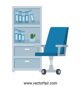 drawer furniture with books and chair office