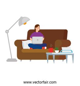 woman sitting in couch with laptop and icons