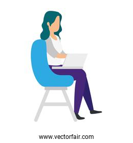 woman sitting in chair with laptop isolated icon
