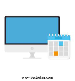 computer desktop with calendar reminder isolated icon