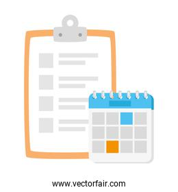 clipboard with paper document and calendar reminder