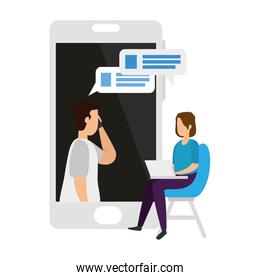 couple in video conference with laptop and smartphone