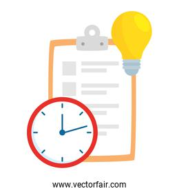 clipboard with clock and light bulb