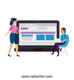 women with laptop isolated icon