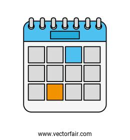 calendar reminder date with blue and orange squares