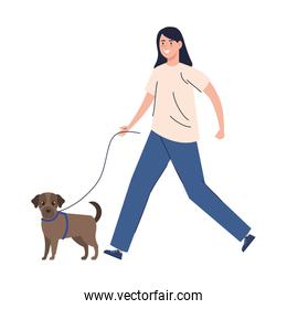 woman walking with dog isolated icon