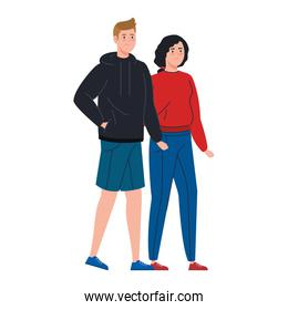 beautiful young couple isolated icon