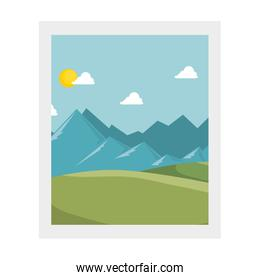 square frame with landscape decoration isolated icon
