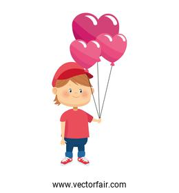 cartoon boy with hearts balloons, colorful design