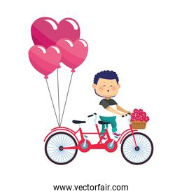 cartoon boy riding a double bike with flowers and hearts balloons, colorful design
