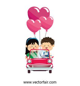 Happy boy and girl in a classic car with heart balloons, colorful design