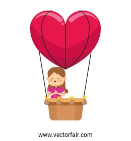 happy girl in hot air balloon in heart shape, colorful design