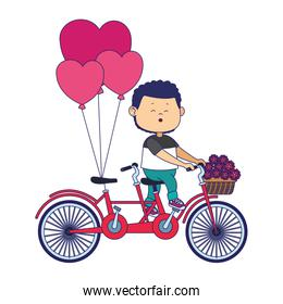 cartoon boy riding a double bike with flowers and hearts balloons