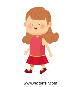 cartoon girl with pink dress icon, colorful design