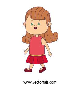 cartoon girl with pink dress icon