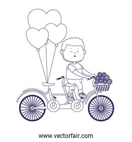 cartoon boy riding a double bike with flowers and hearts balloons, flat design