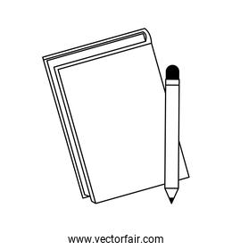notebook and pencil icon, flat design