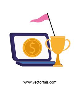 laptop computer with money coin and trophy cup
