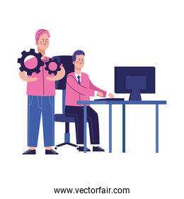 cartoon man working at office desk and man with gear wheels, colorful design