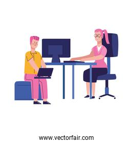 cartoon businessman using a laptop computer and woman working at office desk