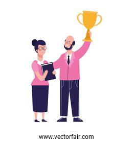 cartoon woman and businessman holding up a trophy, colorful design