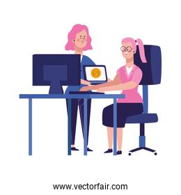 cartoon businesswomen at office desk with computers