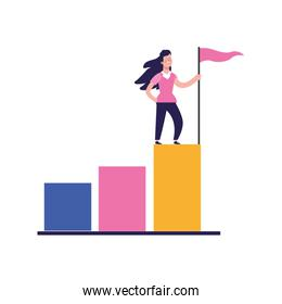 cartoon woman holding a flag on top of graphic bar chart