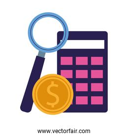calculator, money coin and magnifying glass
