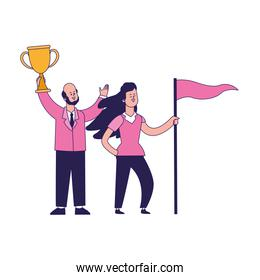 cartoon happy man holding a trophy and girl holding a flag
