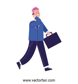 cartoon man using a cellphone and walking, colorful design