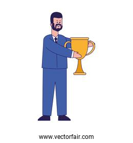 cartoon businessman holding a trophy cup, colorful design