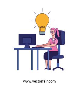 cartoon woman working on office desk with big bulb, colorful design