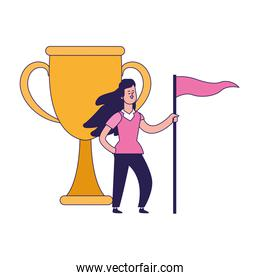 trophy cup and cartoon woman holding a flag icon, colorful design