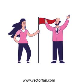 cartoon woman and businessman holding a flag, colorful design